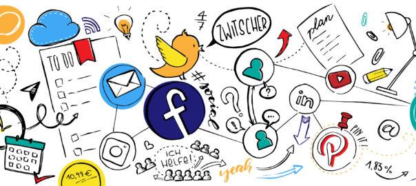 """buntes """"Gekritzel"""" mit Symbolen wie facebook, twitter..."""